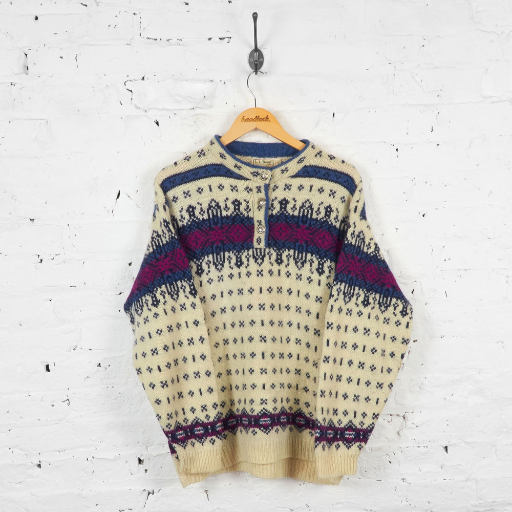 Vintage L.L Bean Patterned Wool Jumper - Cream - L