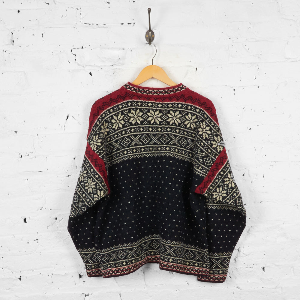 Vintage L.L Bean Patterned Wool Jumper - Black - XL
