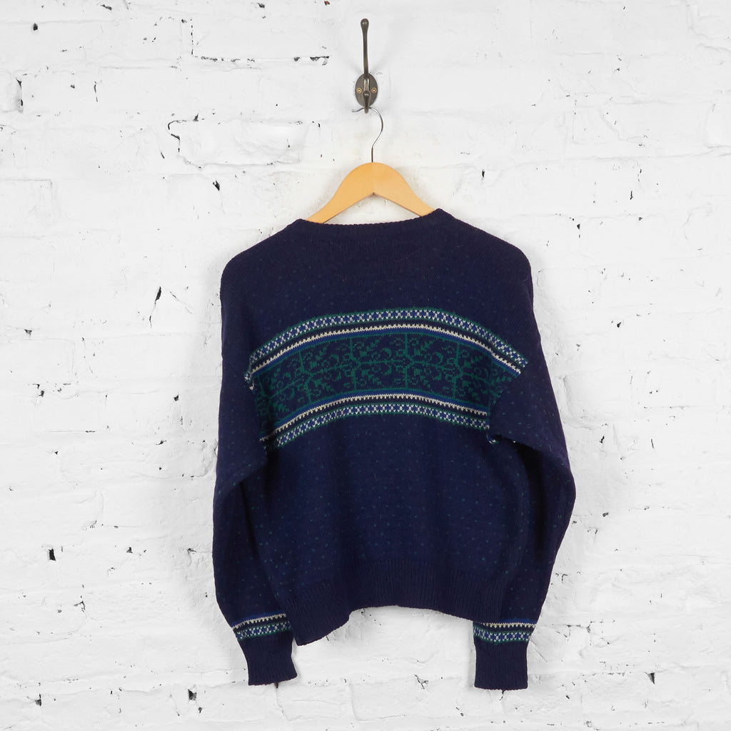 Vintage Women's L.L Bean Wool Cardigan - Blue - M
