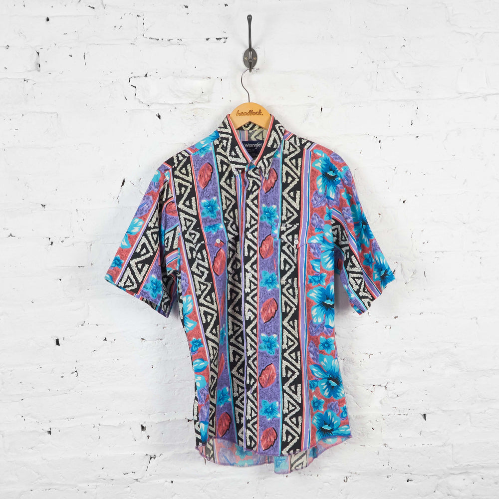 Vintage Pattern Short Sleeve Wrangler Shirt - Multi - XL