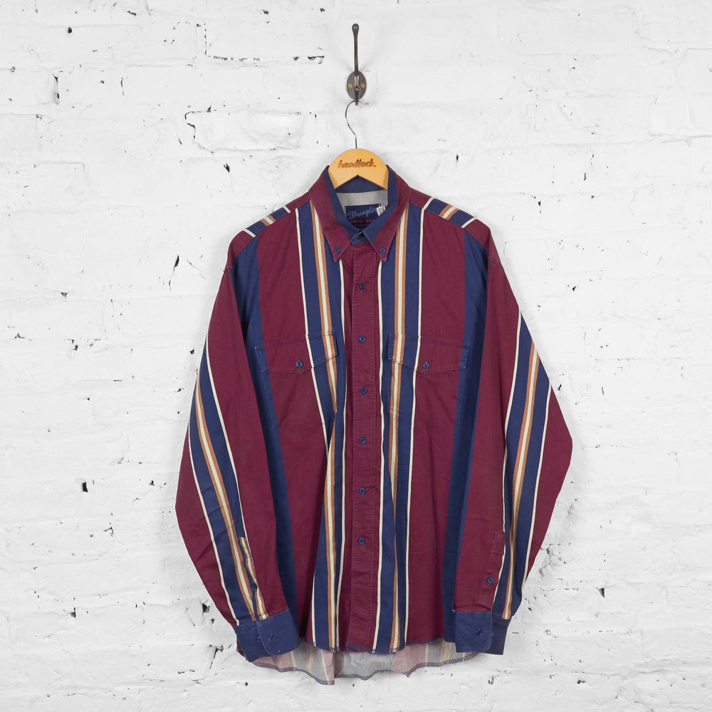 Vintage Striped Pattern Wrangler Shirt - Red/Blue - M