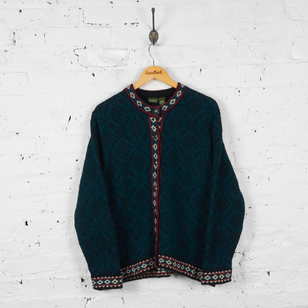 Vintage L.L Bean Women's Knitted Cardigan - Green - L