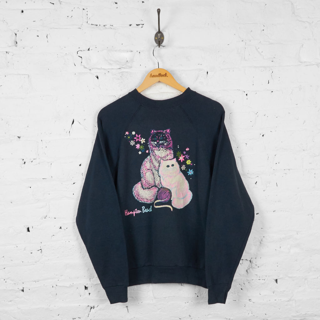 Vintage Hampton Beach Cat Sweatshirt - Black - L
