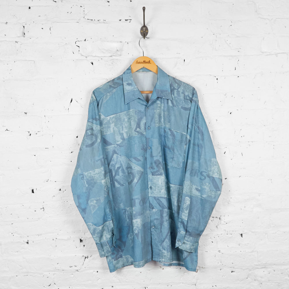 Vintage Patterned Party Shirt - Blue - XL