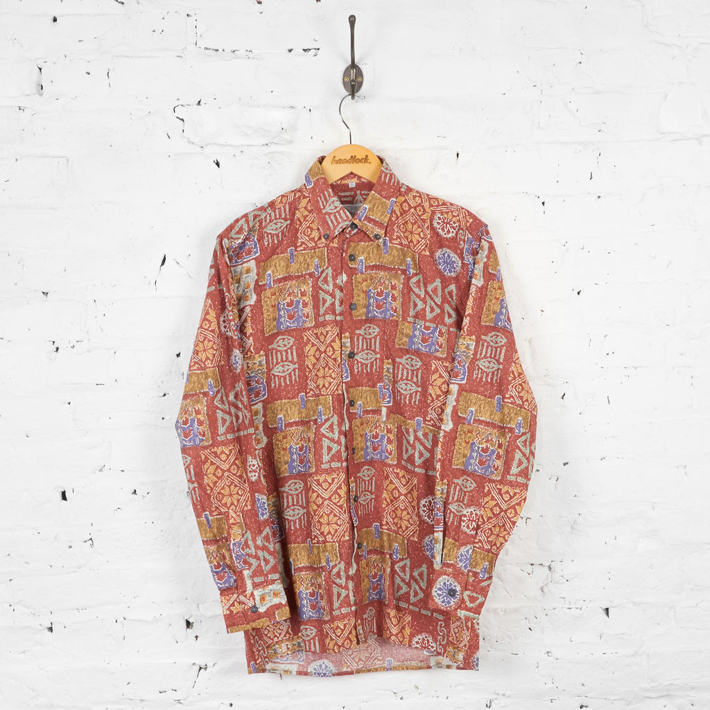 Vintage Patterned Party Shirt - Brown - S