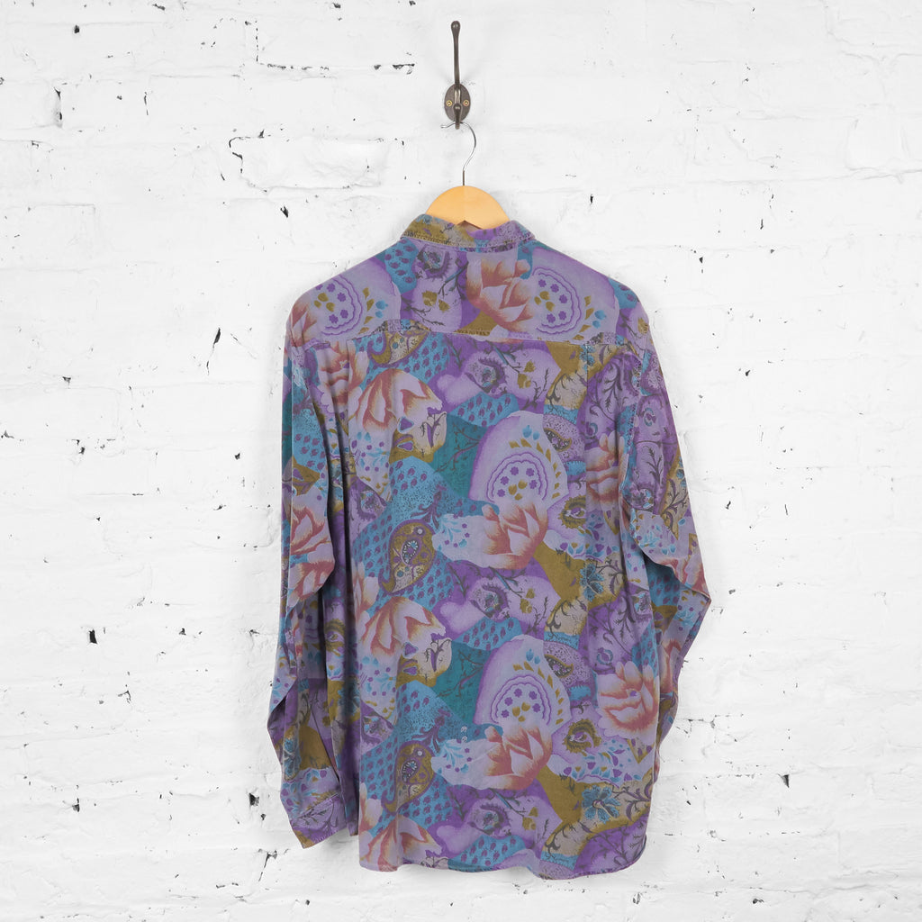 Vintage Patterned Party Shirt - Purple - L