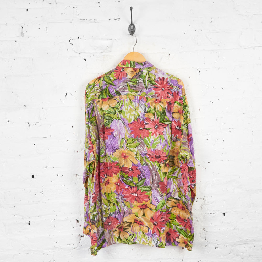 Vintage Floral Patterned Party Shirt - Purple - L