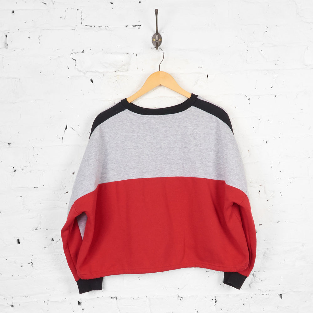 Vintage Women's Cropped Mickey Mouse Sweatshirt - Red/Grey - L