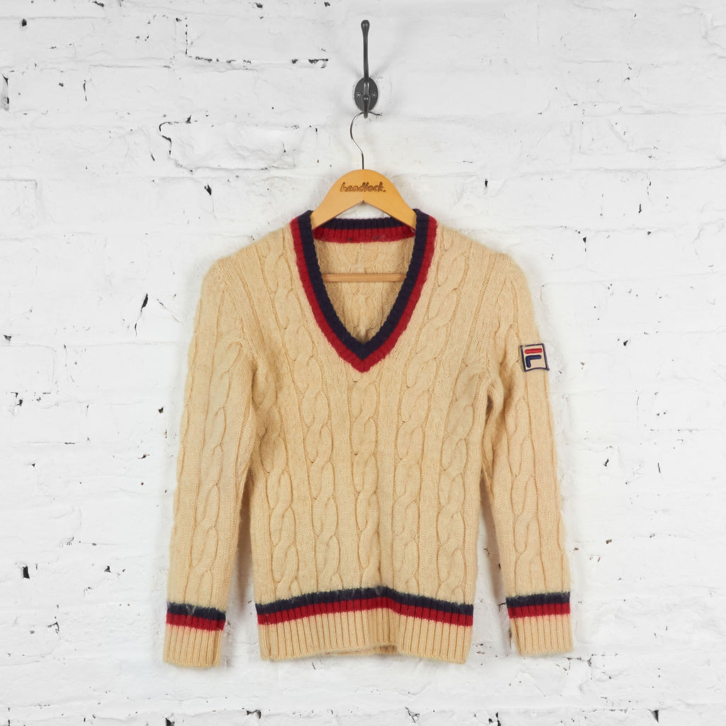Vintage Women's Fila Cricket Jumper - Cream - XXS
