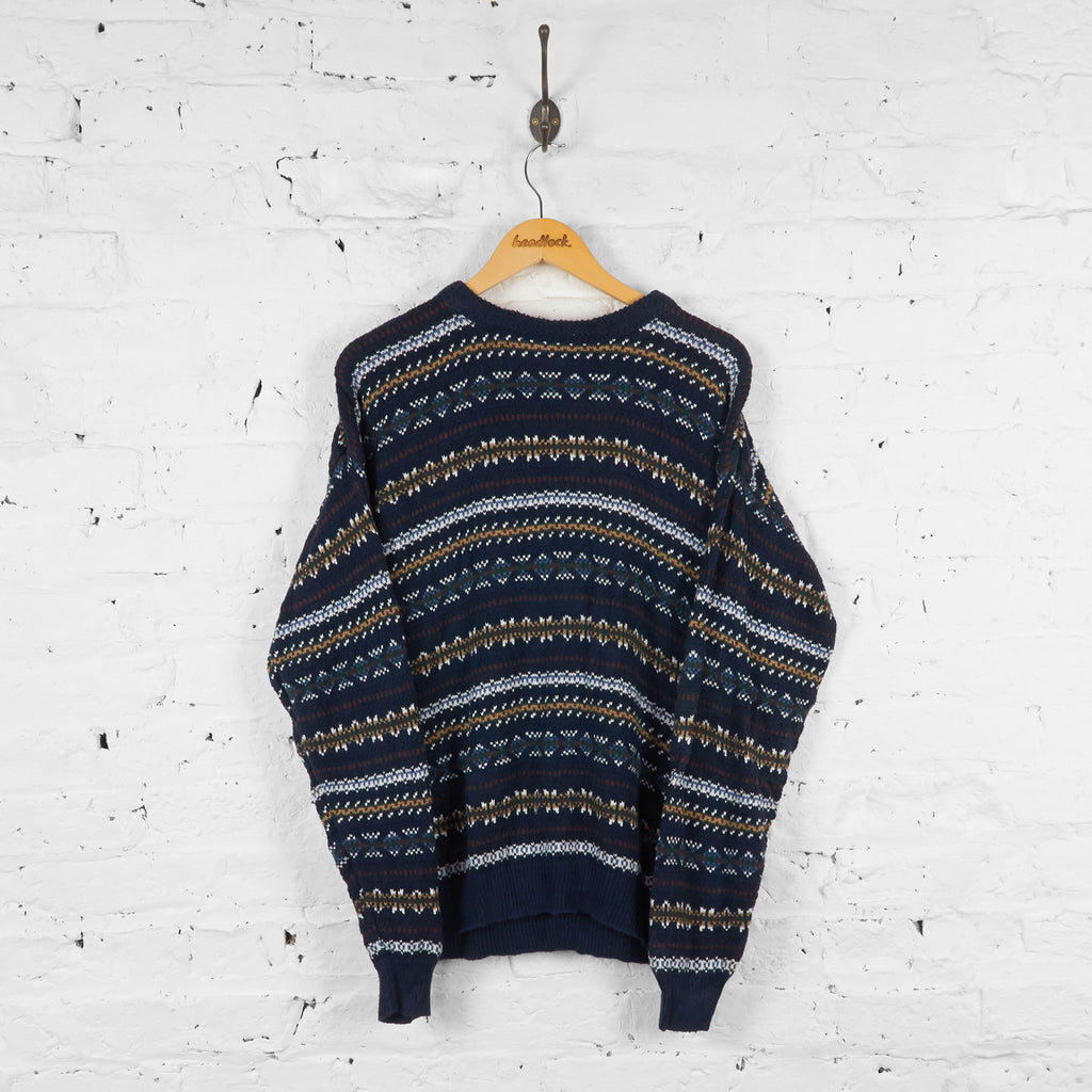 Vintage Striped Knit Jumper - Blue - M