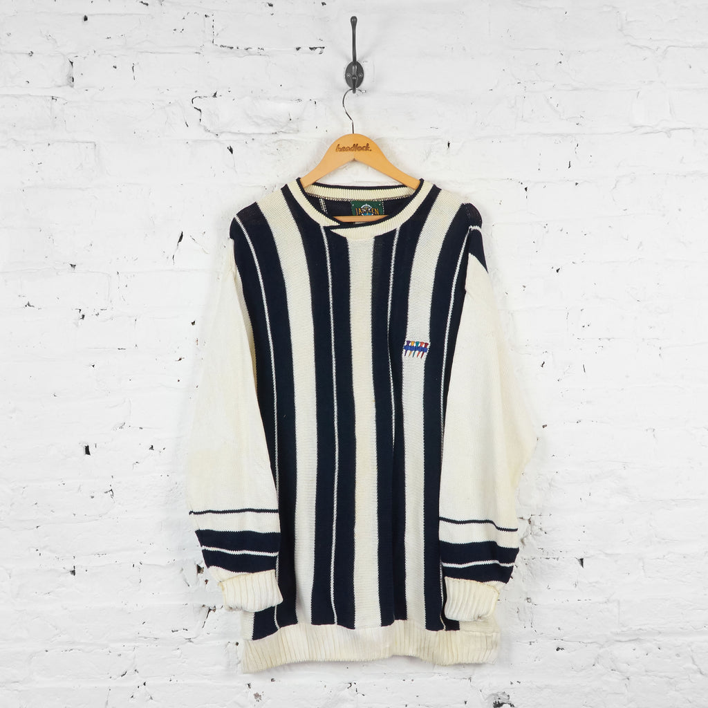 Vintage Golf Striped Knitted Jumper - Black/White - XL