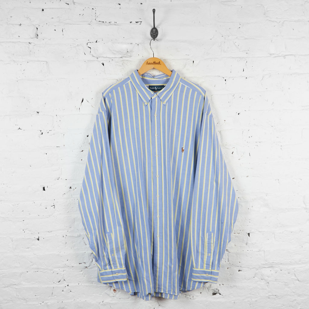 Vintage Striped Ralph Lauren Shirt - Blue - XXXL