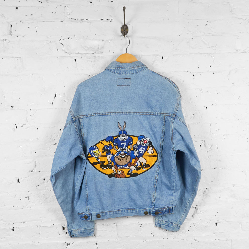 Vintage Looney Tunes NFL Denim Jacket - Blue - M - Headlock