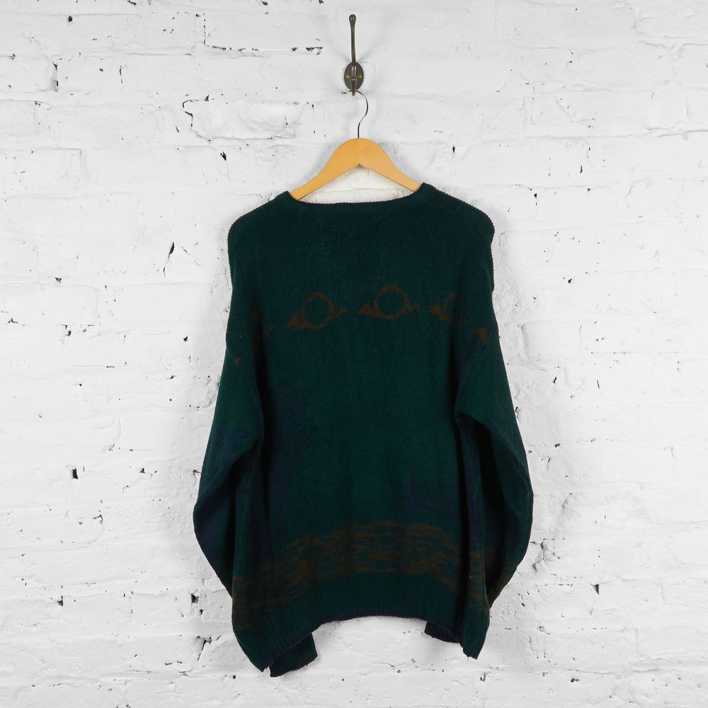 Vintage Hunting Knitted Jumper - Green - M