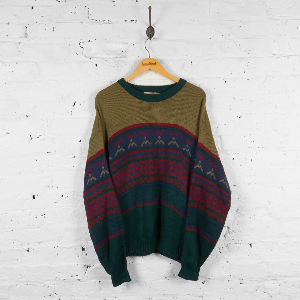 Vintage Pattern Knitted Jumper - Green - L