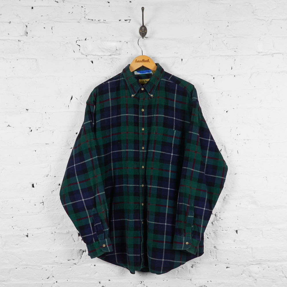 Vintage L.L Bean Checked Shirt - Green - XL