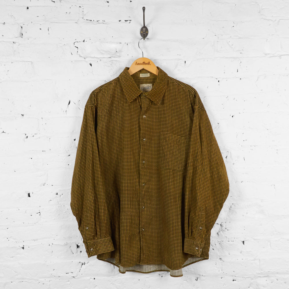 Vintage Corduroy Checked Shirt - Brown - XL