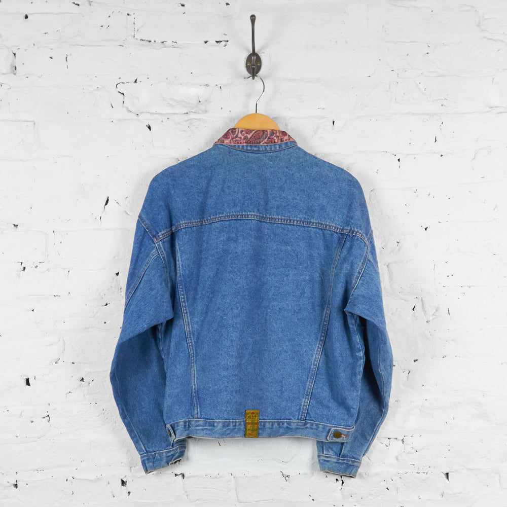 Vintage Corduroy Detail Denim Jacket - Blue - M - Headlock