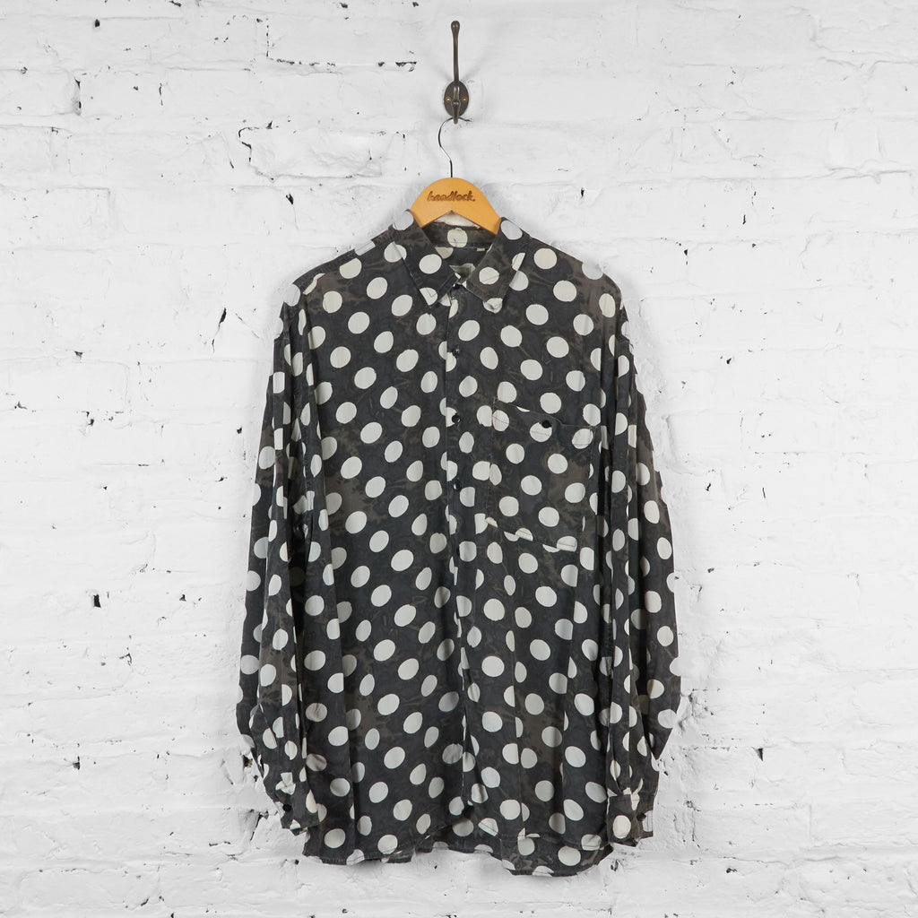 Vintage Polka Dot Pattern Shirt - Black/White - XL