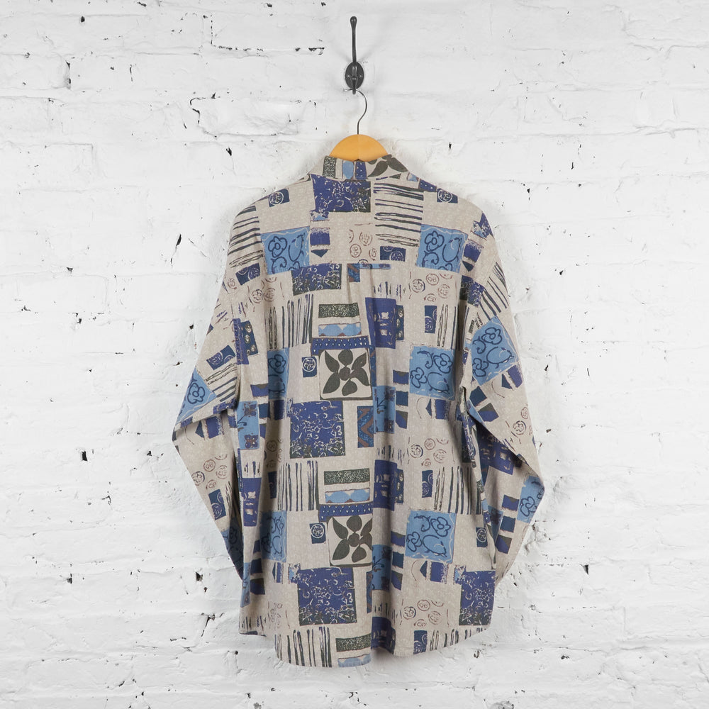 Vintage Squares Pattern Shirt - Blue - XL