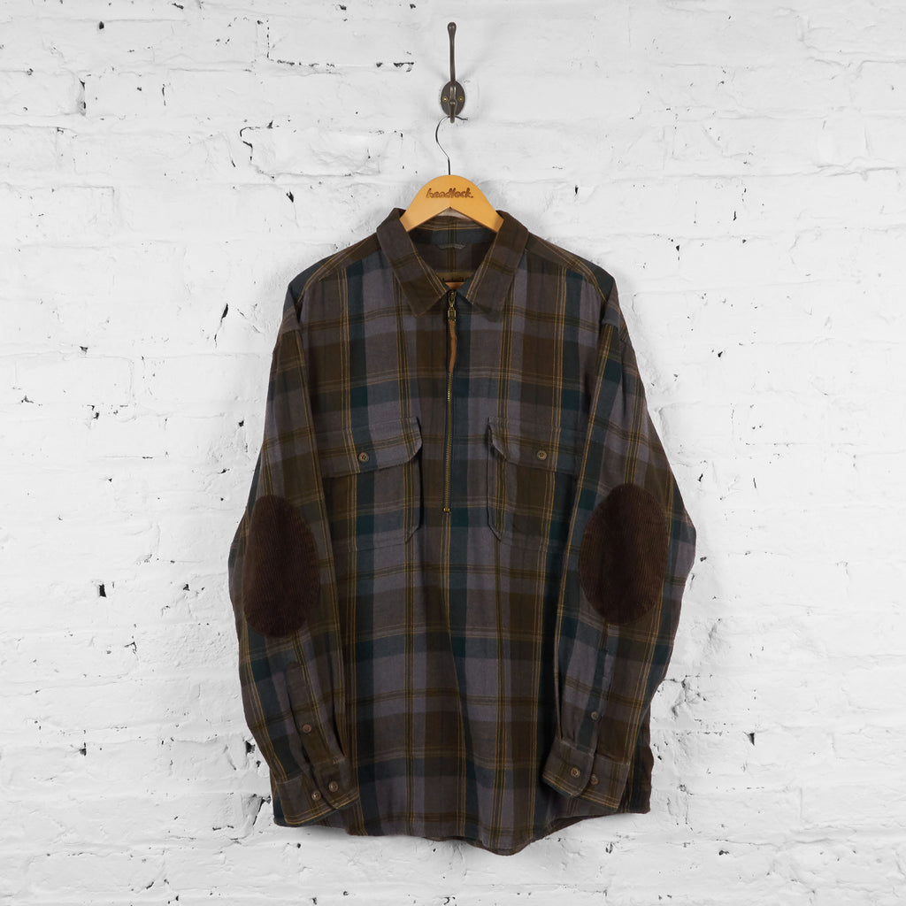 Vintage Timberland 1/4 Zip Checked Shirt - Brown - L