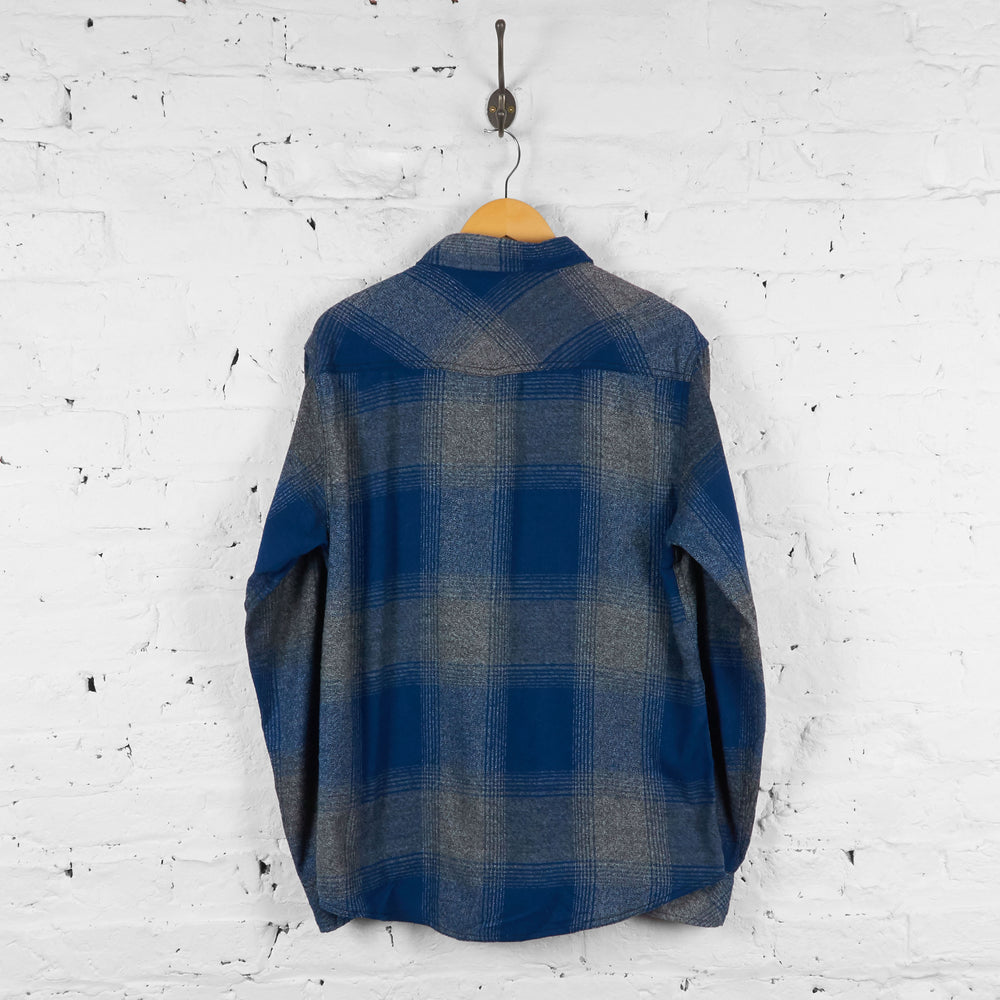 Vintage Plaid Pattern Shirt - Blue - L