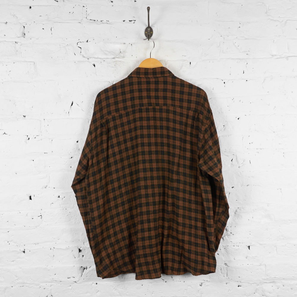 Vintage Pattern Checked Shirt - Brown/Black - L