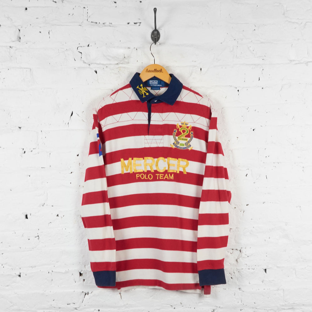 Vintage Ralph Lauren Long Sleeve Polo Shirt - Red/White - S
