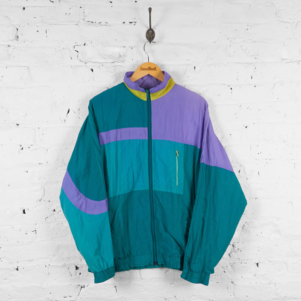 Vintage Shell Tracksuit Top - Green/Purple - L