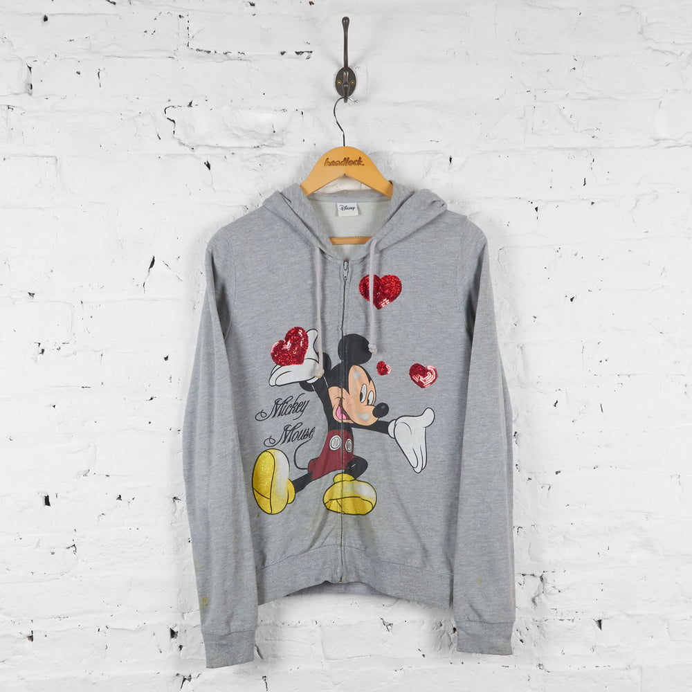 Womens Mickey Mouse Love Hearts Hoodie - Grey - Womens L