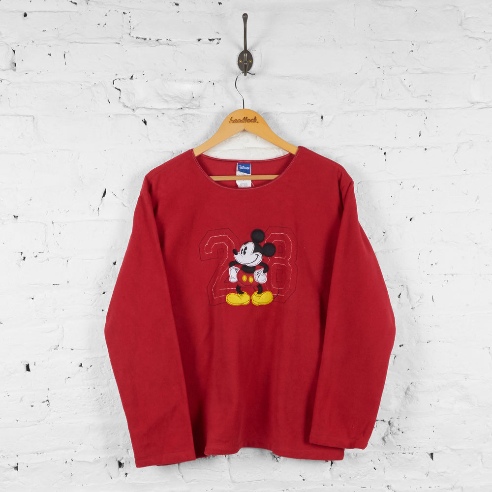 Womens Mickey Mouse 28 Fleece Sweatshirt - Red - Womens L