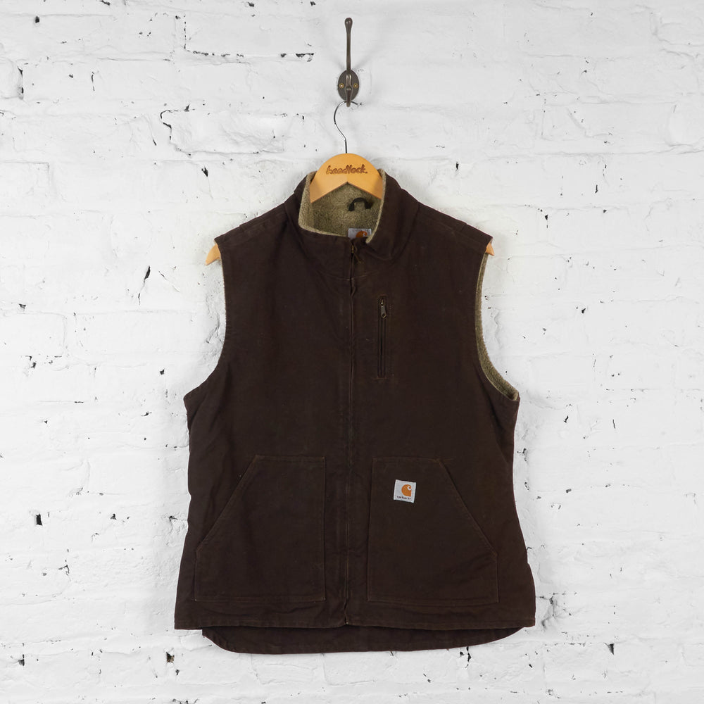 Womens Fleece Lined Carhartt Bodywarmer Gilet - Brown - Womens L