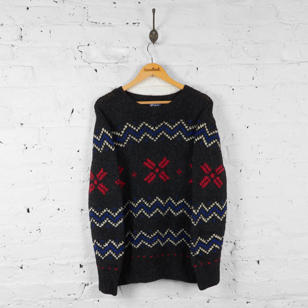 Woolrich Wool Festive Pattern Knit Jumper - Grey - L