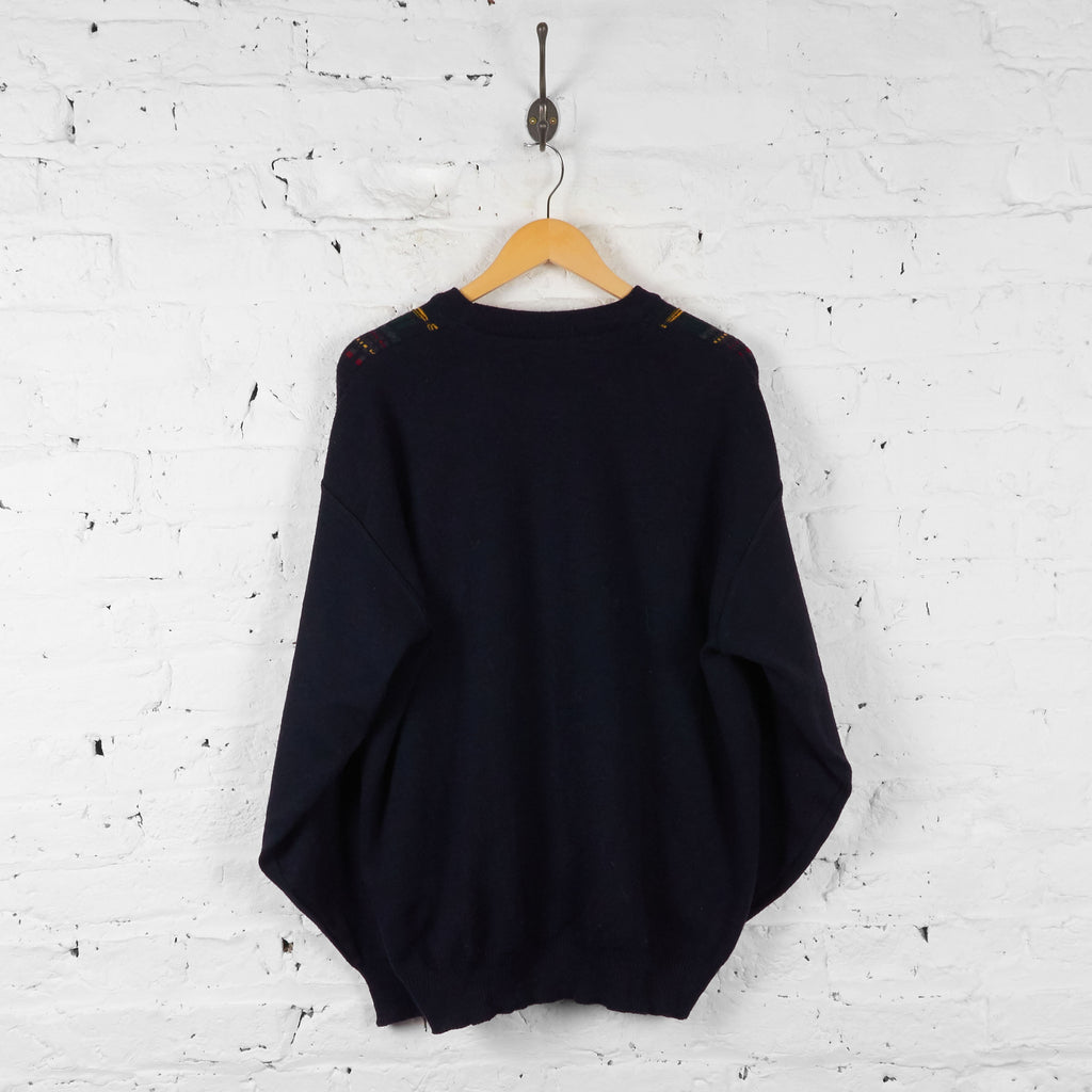 Vintage Pattern Knit Jumper - Black - XL - Headlock