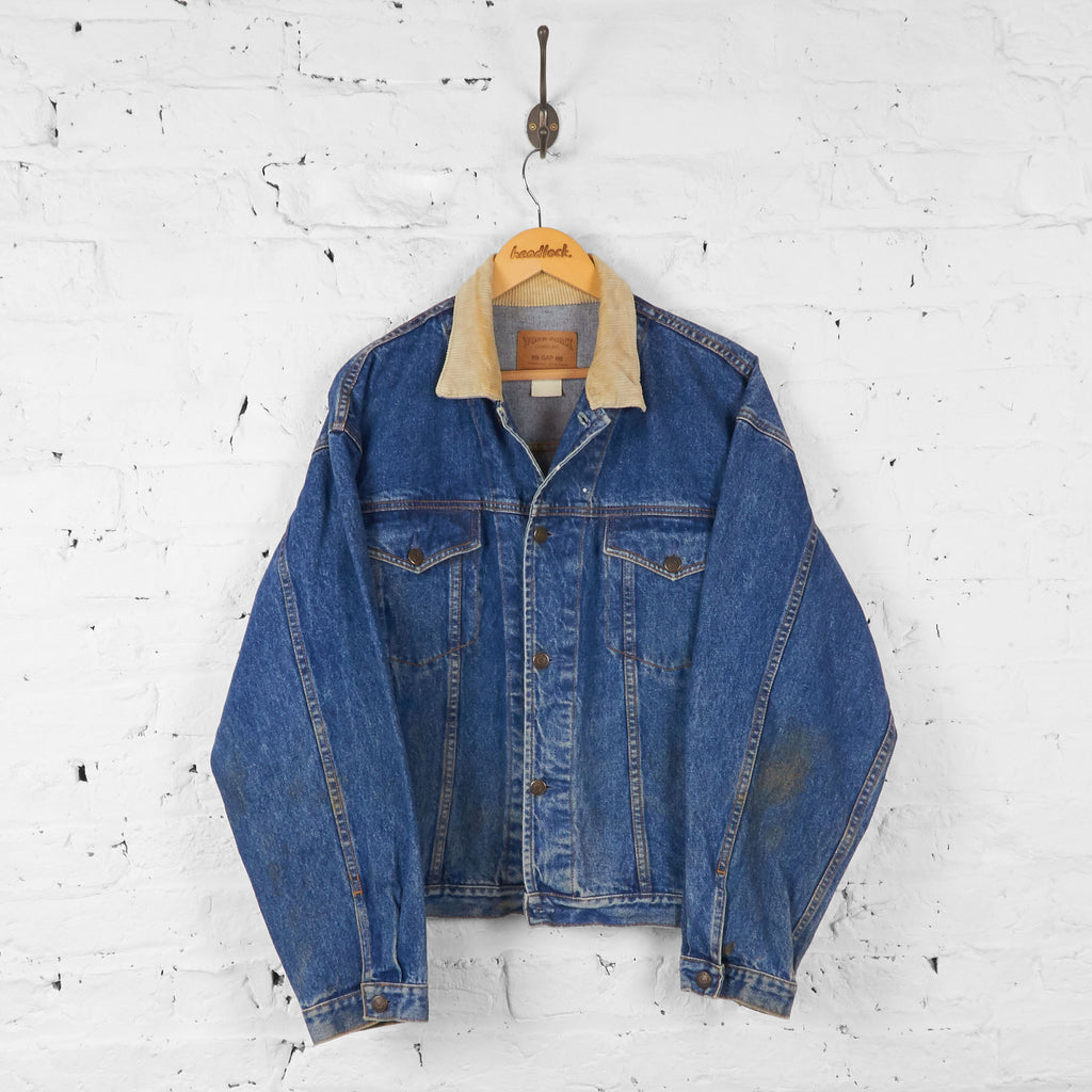 Vintage Collared Corduroy Denim Jacket - Blue - L - Headlock