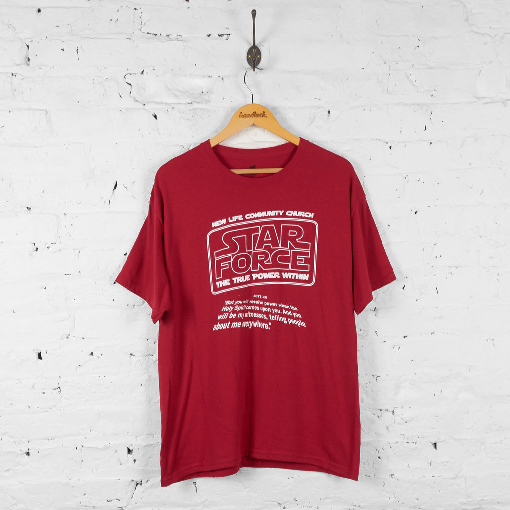 Vintage New Life Community Church Star Force T-shirt - Red - L - Headlock