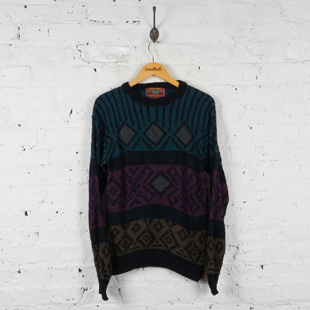 Vintage Patterned Knit Jumper - Black - M - Headlock