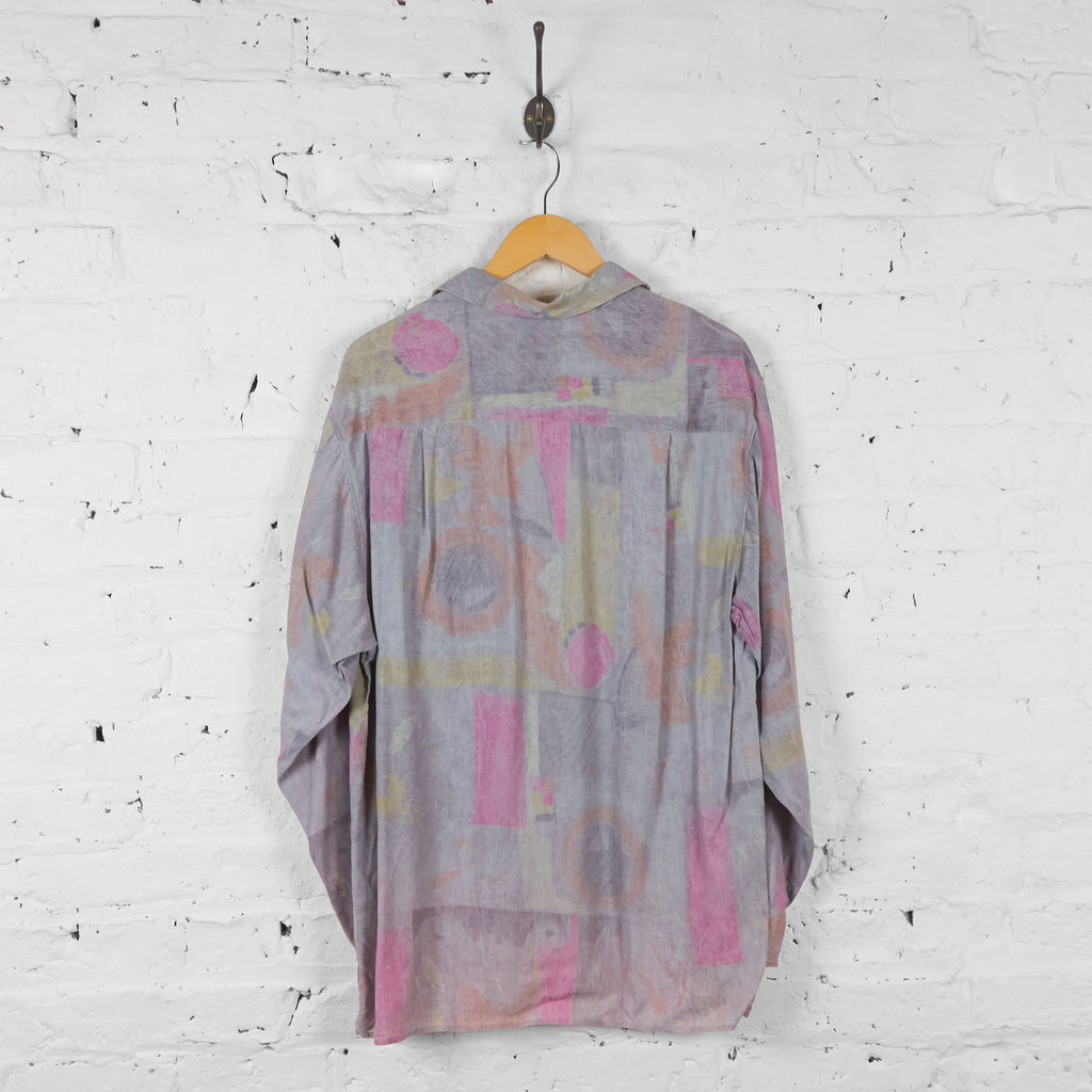 Vintage Pastel Patterned Party Shirt - Pink - L - Headlock