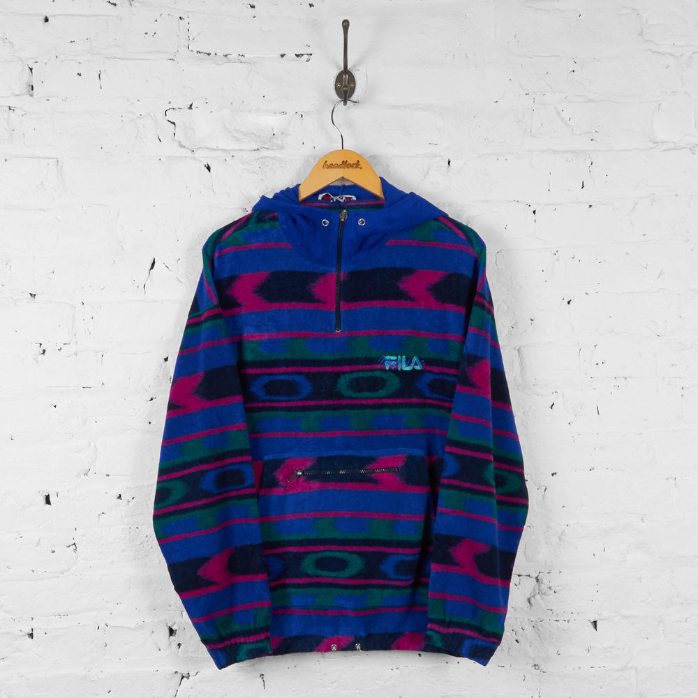 Vintage Fila Hooded Pattern Fleece - Multi - L - Headlock