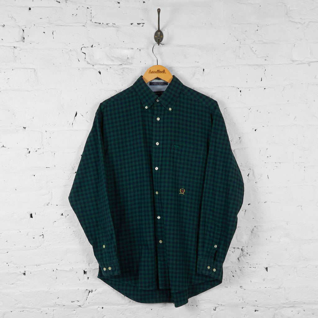 Vintage Tommy Hilfiger Checked Shirt - Green - M - Headlock