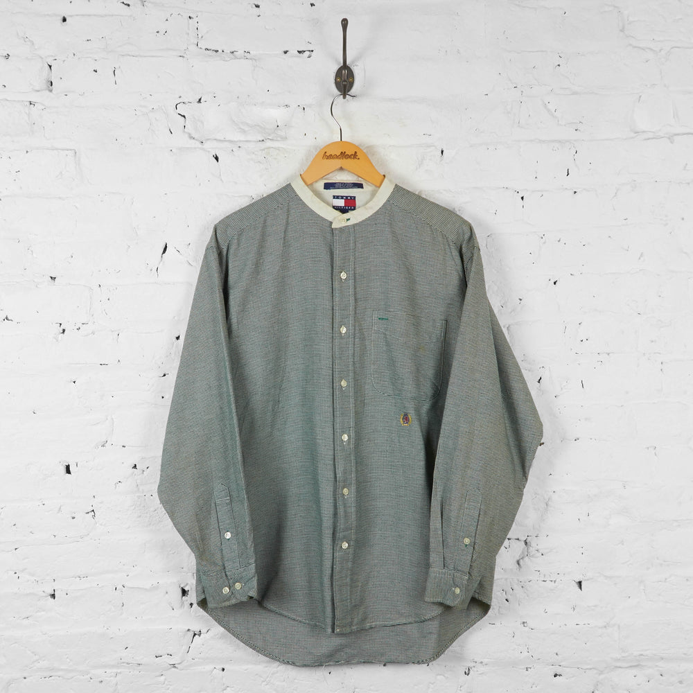 Vintage Tommy Hilfiger Collarless Shirt - Green - M - Headlock