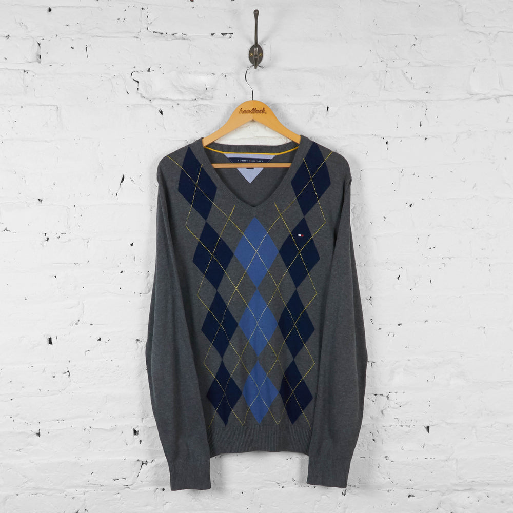 Vintage Tommy Hilfiger Argyle Pattern Jumper - Grey - L - Headlock