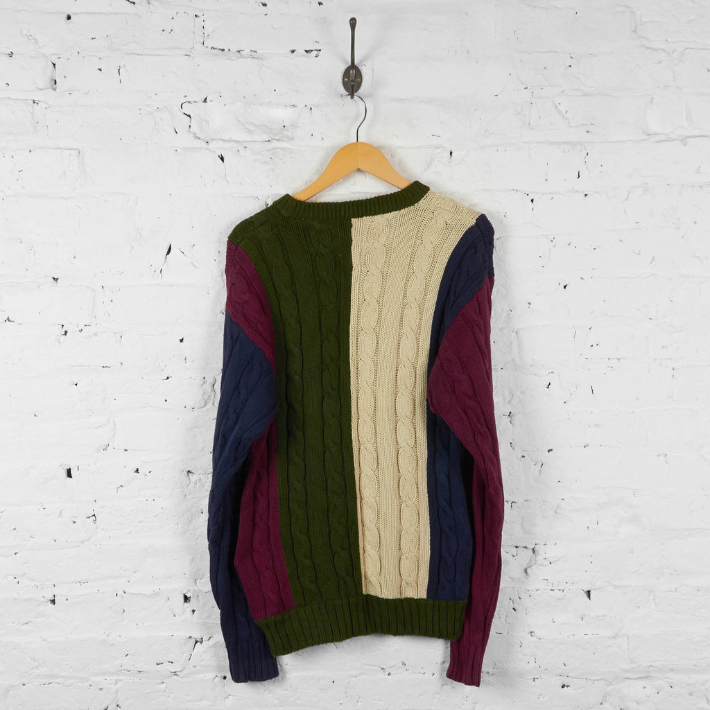 Vintage Tommy Hilfiger Cable Knit Jumper - Green/White/Red/Navy - S - Headlock