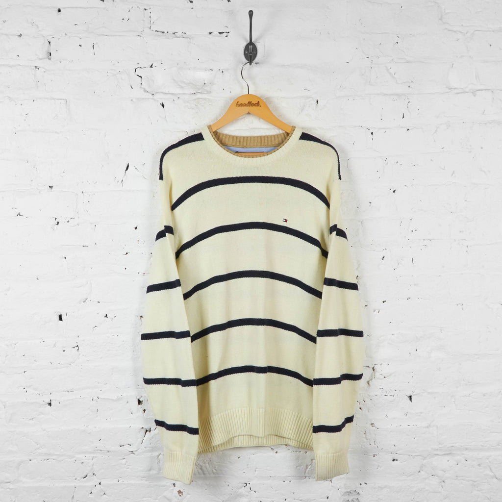 Vintage Tommy Hilfiger Striped Knitted Jumper - Cream - L - Headlock