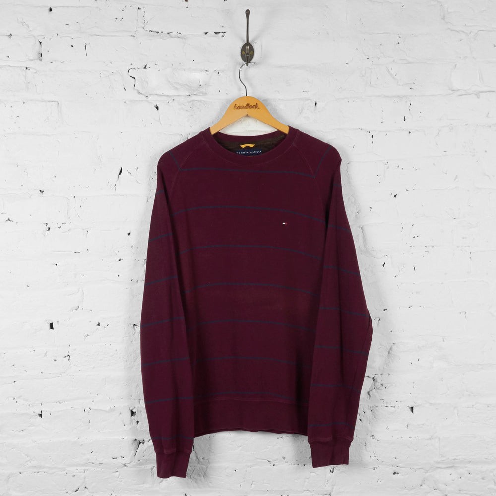 Vintage Tommy Hilfiger Striped Jumper - Maroon - L - Headlock