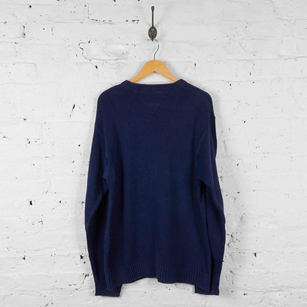 Vintage Tommy Hilfiger Knitted Jumper - Navy - XL - Headlock