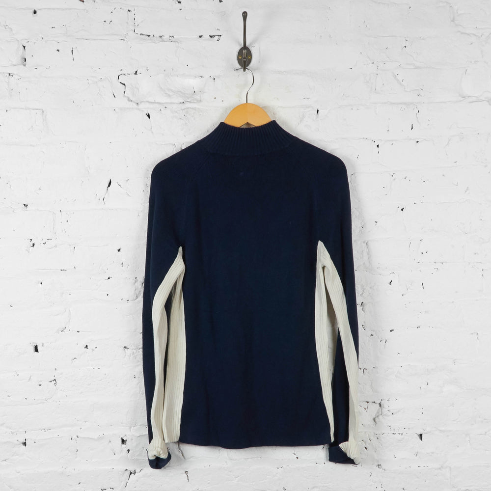 Vintage Women's Tommy Hilfiger 1/4 Zip Jumper - Navy - L - Headlock