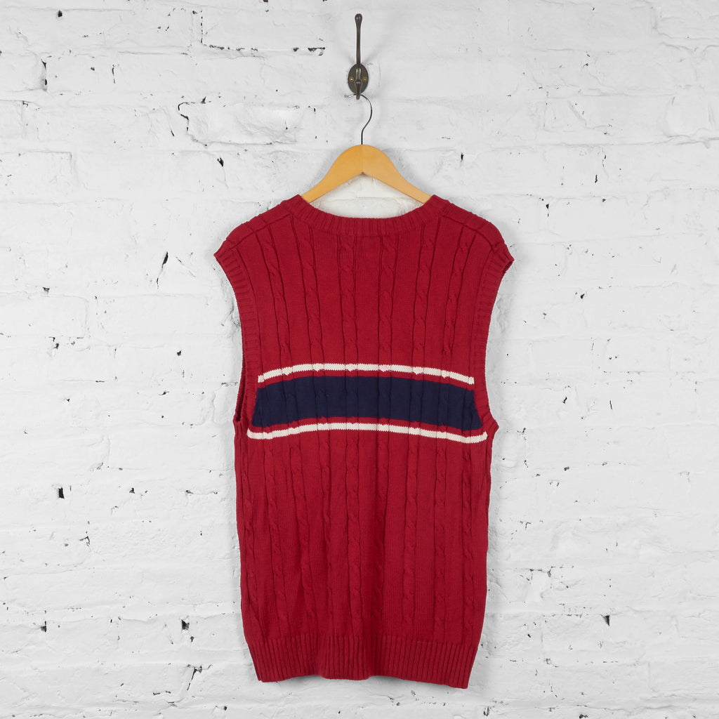 Vintage Tommy Hilfiger Cable Knit Vest - Red - L - Headlock