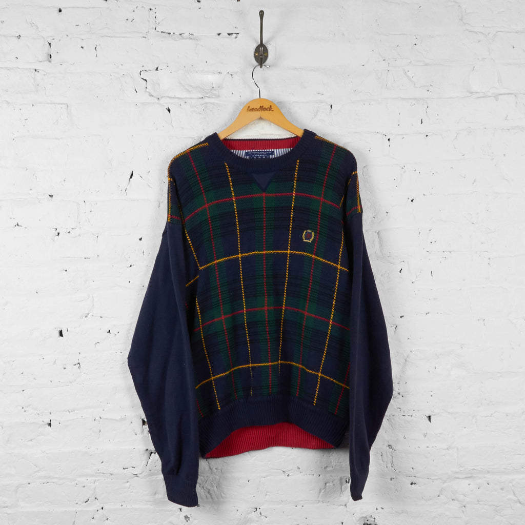 Vintage Tommy Hilfiger Checked Jumper - Navy/Green - XL - Headlock