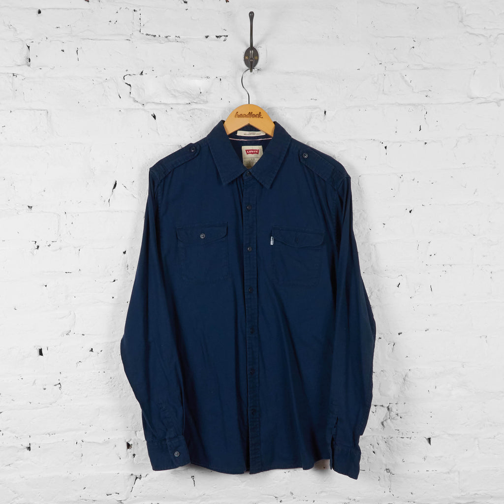 Vintage Levi's Button Up Shirt - Navy - L - Headlock